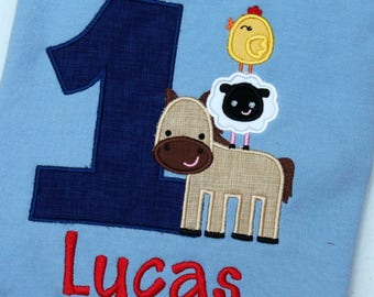 Baby Boy Farm Animal Birthday Outfit - Barnyard Birthday Shirt - 1st Birthday Barnyard Animal Shirt - Birthday shirt  - Farm Animal Shirt