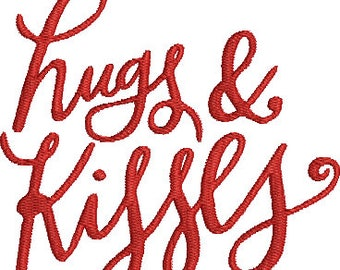 Hugs and Kisses Machine Embroidery Design Love