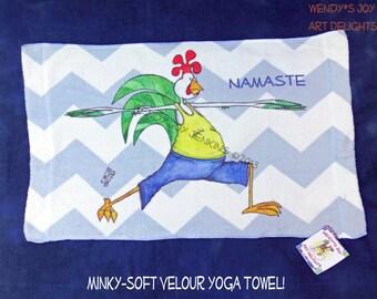 Workout Towel Yoga Warrior Pose Namaste Man White and Gray Chevron Rooster