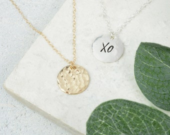 Hammered Disc Necklace in Silver/Gold Filled | Secret Message Necklace | Personalised Textured Pendant Necklace | Jewellery for Her under 30