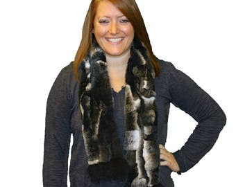 Glacier Wear Rex Rabbit Fur Scarf Fox Trim fsf4040