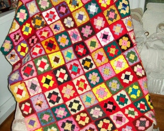 Vintage Granny Square Throw Multicolored Hand Made Afghan Lap Throw