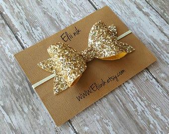 """Gold bow headband, gold glitter bow headband, lurge bow headband or clip, girl bow headband, hair bow clip, 4"""" bow headband, hair clip"""