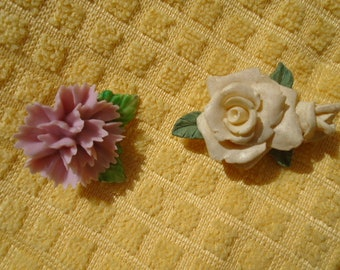 2 Vintage Ceramic Floral Pins/ Carnation And Rose/ Mother's Day Symbols