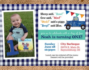 Little Blue Truck Birthday Party Invitation DIGITAL FILE