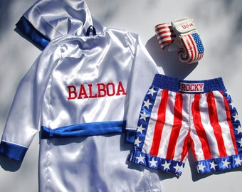 Kids boxing Robe Personalized, shorts and gloves set