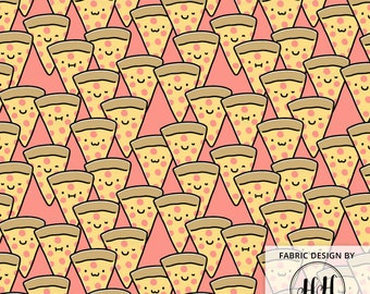 Pizza Cuties Fabric By The Yard / Cute Pizza Fabric / Funny Pizza Faces / Childrens' Fabric / Slice Pink Coral Print in Yard & Fat Quarter