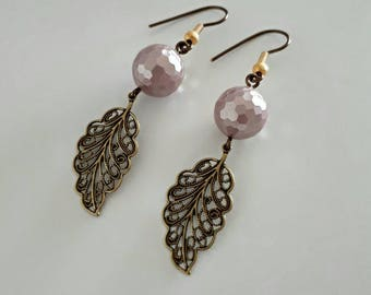 Antique Bronze Filigree Leaves Earrings with Hazy Violet Shell Pearls