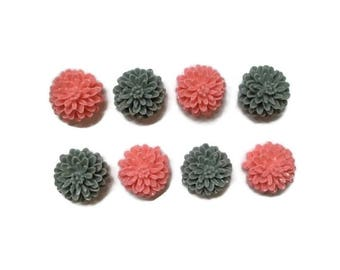 Floral Magnets + Tin / Flower Magnets / Fridge Magnets / Refrigerator Magnets / Pink and Gray Magnets / Pink Magnets / Gray Magnets