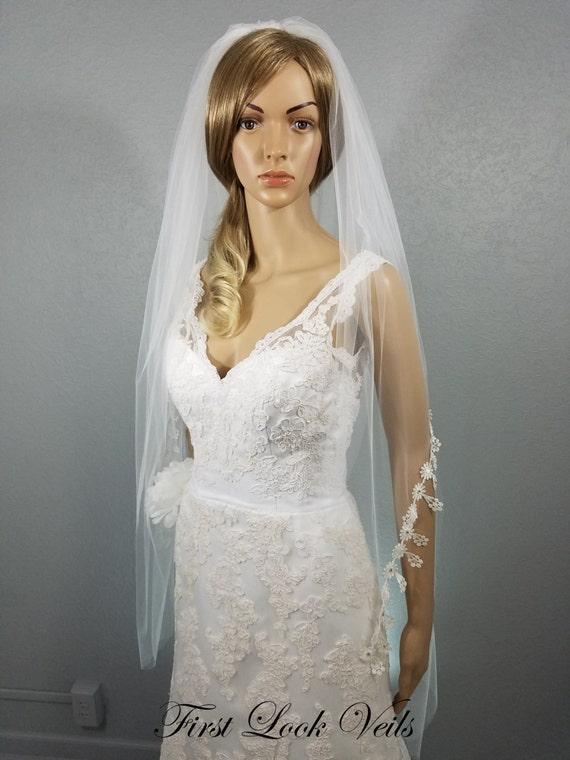 White Bridal Veil, Lace Wedding Veil, Boho Veil, Peplum Veil, Crystals, Boho Veil, Wedding Vail, Full Veil, Two Layer Veil, Bride, Bridal