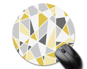 Round mouse pad, geometric mousepad, triangles, modern mouse pad, mouse mat, yellow mousepad, rectangle mousepad
