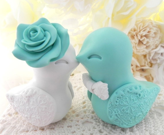 Love Bird Wedding Cake Topper, Robins Egg Blue and White, Bride and Groom Keepsake