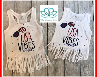 4th of July shirts, USA Vibes only, Girls 4th of july shirt, womans 4th of July top