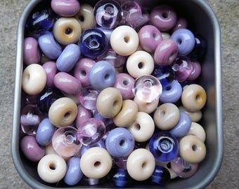 Heathered Fields - Essential Mini Spacers Lampwork Beads - Made To Order