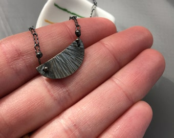 """OOAK: Sessile Necklace in Oxidized Recycled Sterling 16"""""""