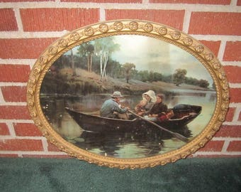 Antique Victorian Beautiful Ornate Wood and Gesso Oval Picture Frame