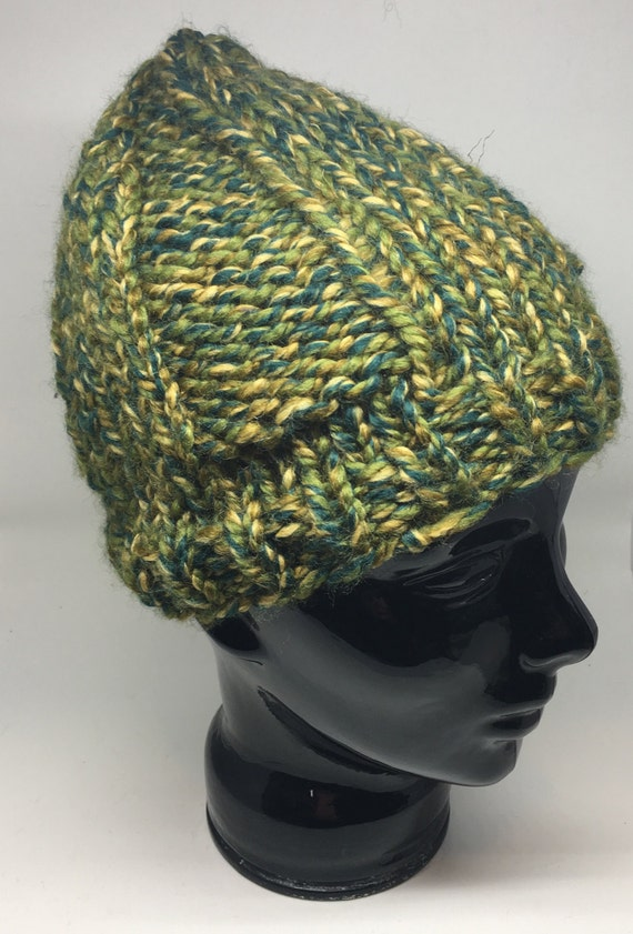 Camo green chunky knit winter hat