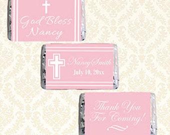 Personalisierte Hershey Mini Schokoriegel Aufkleber Etiketten, druckbare Mädchen Taufe Taufe Kommunion Gastgeschenke, Mini-Schokoriegel Wrapper 6505