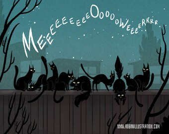 Black Cat Serenade 8x10 art print