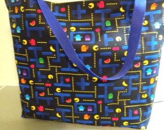 Pac Man Arcade Game, Reusable Farmers Market / Grocery / Gift / Shopping Bag / Tote