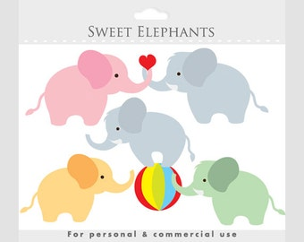 Elephant clipart - baby elephant clip art, circus clipart, ball, sweet, cute, animal clipart for personal and commercial use