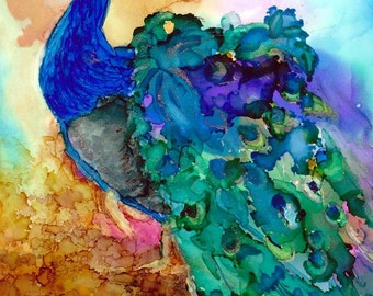 Alcohol Ink, AIArt Original 4x5 Gorgeous Peacock
