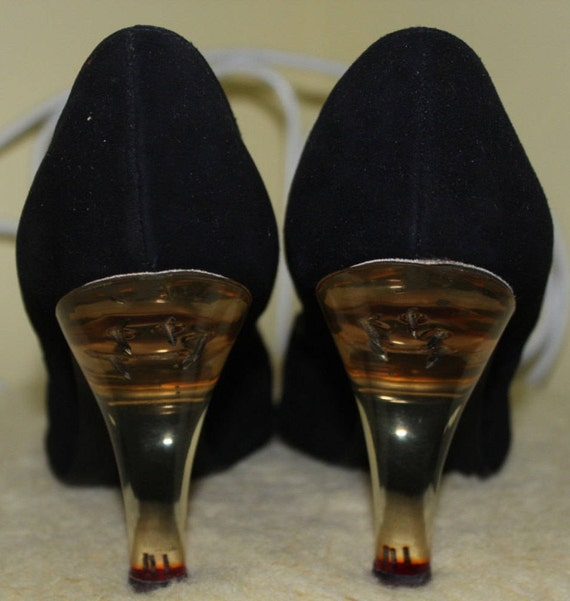 1950s High Size Jet Shoes Heels Clear Toe 7 Black Pedi Vogue Satin Mid Acrylic Charm RARE Pumps Chic 60s Glamour Peep Fine Suede Century AqdTKfx