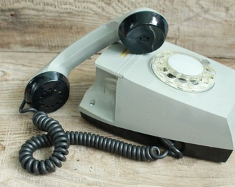 rotary phone Vintage Soviet  rotary telephone / 1971 year / circle dial rotary phone / vintage phone / Old Dial Desk Phone