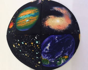 Planets and outer space kippah ,yarmulke solar system handmade in Israel