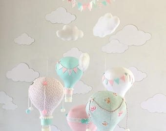 Pink and Mint Hot Air Balloon Baby Mobile, hot air balloon decorations, hot air balloon nursery, Nursery Decor, Baby Shower Gift