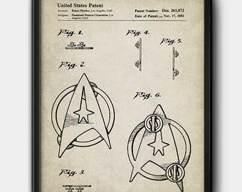 Starfleet insignia · Star Trek · Vintage · 1981 · Patent · Instant Download #147