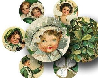 St. Patricks Day in 1 inch circles -- 4x6 inch sampler -- piddix digital collage sheet 1048