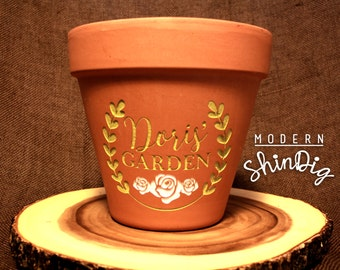 Personalized Flower Pot - Engraved Terra Cotta Planter Clay Pots - Custom Engraving with Paint Fill in Multiple Colors