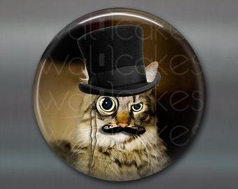 "3.5"" steampunk cat magnet, cat decor, steam punk decor, cat fridge magnet kitchen decor, large fridge magnet, housewarming gift  MA-1022"