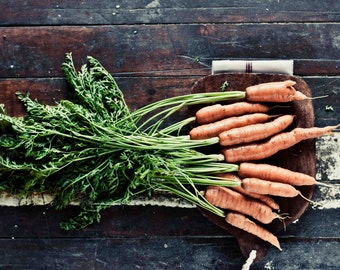 Food Photography, Carrots Photograph, Modern Farmhouse Wall Decor, Rustic Kitchen Wall Decor, Foodie Gift, Food Art, Carrot Art, Cafe Art