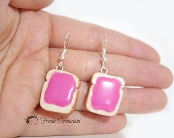 Toast with strawberry marmalade earrings - Sweet - Pink - Breakfast - Kawaii - Miniature - Food - Cute - Lolita Style