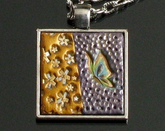Butterfly & Flower Necklace  - Polymer Clay Jewelry - Art Jewelry - Nature Jewelry - Silver Jewelry - Mothers Day Gift - Earthy Jewelry