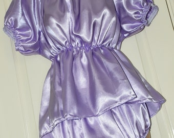 Silky short lilac satin sissy dress with matching slithery sissy panties, Sissy Lingerie
