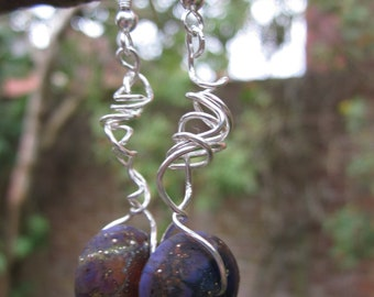 Purple Lampwork Beads and Silver earrings