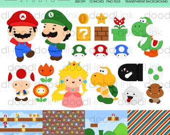SALE 50%!!! Cute Game Brother Digital Clipart / Mario Clip Art / Digital Paper For Personal Use / INSTANT DOWNLOAD