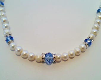 Vintage Necklace, Faux Pearl, Blue Glass Beads, Crystal Rondelles, Wedding, Formal, Circa 1980s, Includes Gift Box