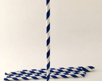 Paper Straws - Paper Straw - Party Supplies - Striped Paper - Straws - Royal Blue - Blue - Blue Straws - Royal Blue Straws