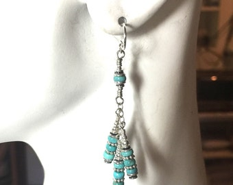 Earrings Turquoise and Sterling Silver Long Dangles #2