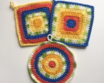 Set of 3 • Blue, Green, Coral and Yellow Round and Square Handmade Crochet Cotton Potholders