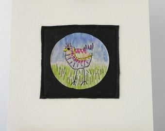 original tea bag art, handsewn chicken, small kitchen art, country scene, chook art on a tea bag, Crazy Chicken