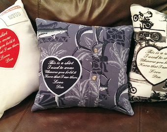 """Memory Patch, Memory Pillow Patches, """"This is a shirt I used to wear"""" Custom Sew on Patch, Personalized Embroidered Heart Shaped Patches."""