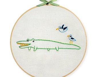 KIT embroidery alligator wall art
