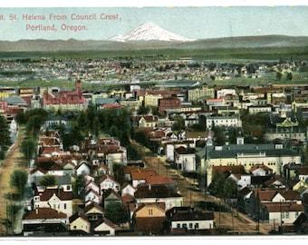 Mt St Helens from Council Crest Portland Oregon 1910c postcard