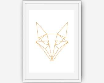 Geometric Fox Print, Fox Art, Orange Fox Print, Geometric Art, Geometric Print, Orange Wall Art, Wall Art, Printable, Instant Download