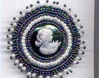 Pearlized Cameo with Iris Background and Matching Beads Brooch